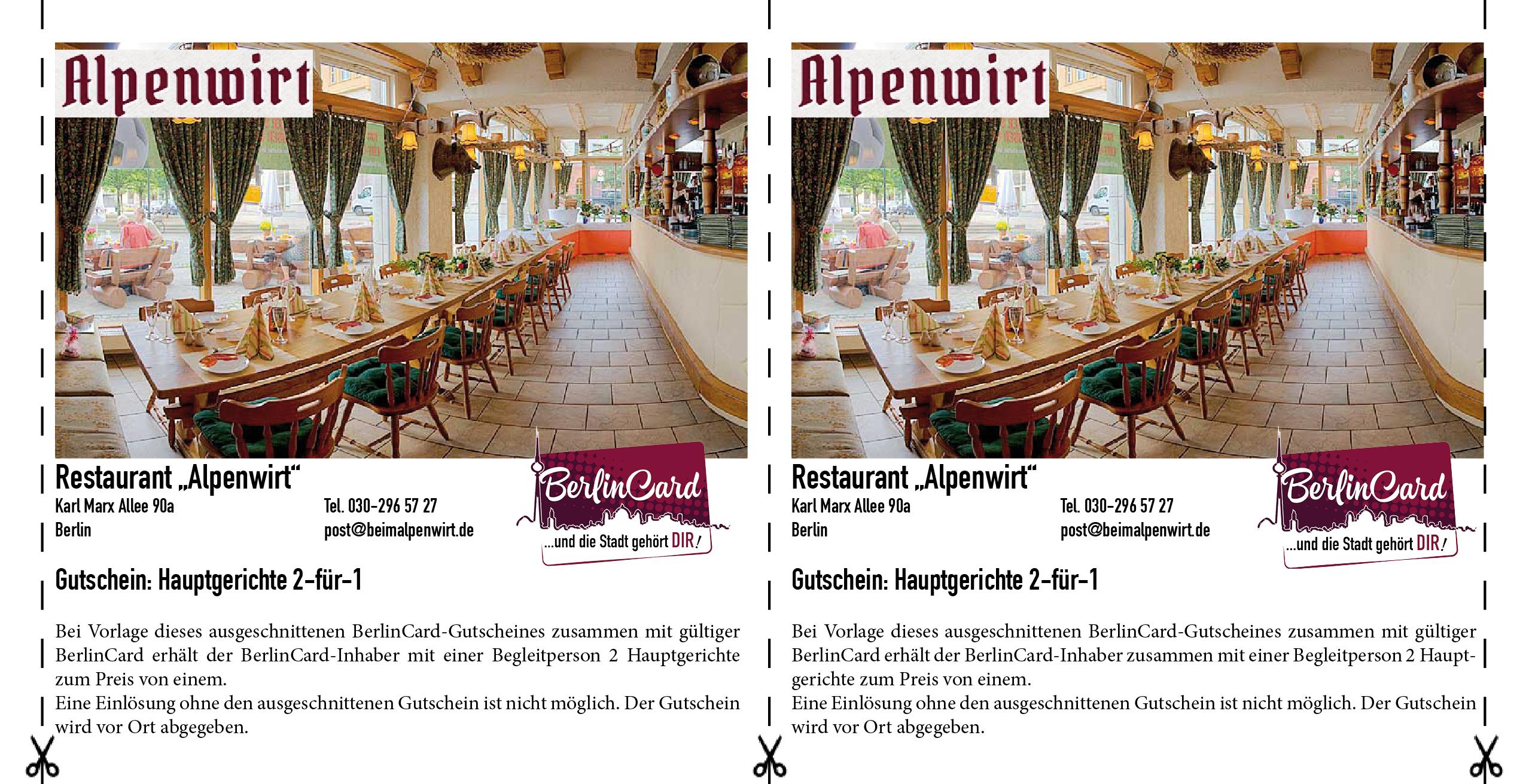 Restaurant Alpenwirt - BerlinCard