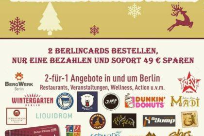 Weihnachtsaktion gestartet: Erwerbe 2 BerlinCards zum Preis von Einer!